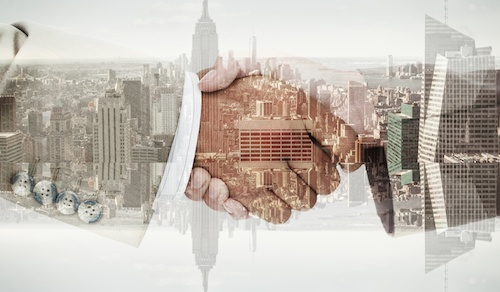 Composite image of side view of business peoples hands shaking
